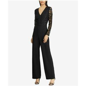 NWT $200 Ralph Lauren SIZE 18 Black Lace Jumpsuit